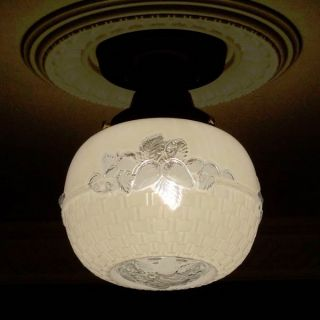((basketweave) Ceiling Lamp Light Glass Shade Fixture Kitchen Bath Porch Hall photo