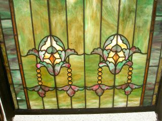 Large Arts & Crafts Double Hung 24 Jewels Stained Glass Window 201 photo