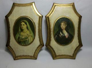 Vintage Italian Florentine Toleware Pictures Gold & Cream Victorian Ladies 10