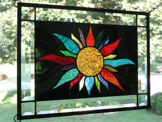Midnight Sun 22 Color Stained Glass Window Panel Sampler Nr photo