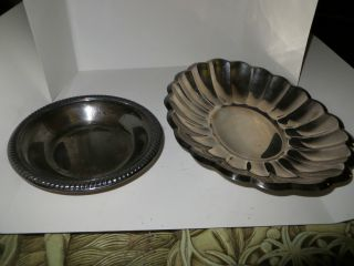 Of 2 Reed & Barton Silver,  Holiday Scalloped Oblong Bowl And Bowl 1208 photo