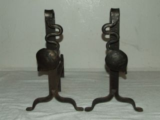 Antique 19th C.  Hand Forged Cast Iron Victorian Art Nouveau Fireplace Andirons photo