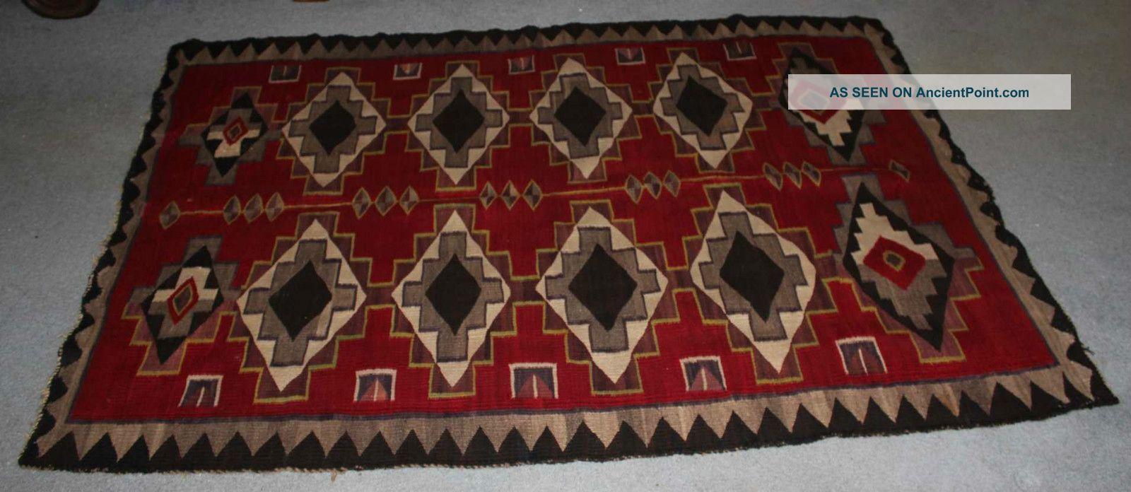 Antique Navajo Indian Trading Rug Circa 1900 Native American photo