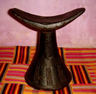 African Tribal Ethiopian Carved Headrest Sculpture Ethnographic Art,  Decor photo
