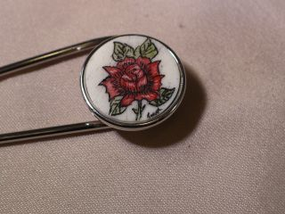Scrimshaw Cow Bone Ladies Scarf Pin Red Rose photo