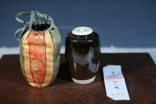 Antique Tea Ceremony Zeze Ware Tea Caddy Tyaire S314 photo