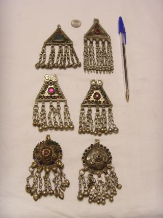 6 Vintage Antique Large Kuchi Tribal Pendants Central Asia Bellydance Ats Fv360 photo