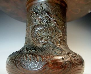 Important Museum Quality Antique Japanese Bronze Dragon Vase Signed Edo Meiji photo