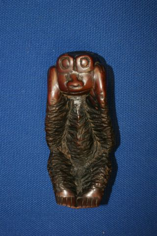 Unusual Antique Carved Wood Figure Tribal Art Carving Oceanic ? Ethnographic photo