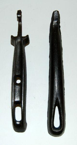 Antique Wood Coal Stove Cast Iron Lid Lifter Handles Vintage Vtg Cs - 64 photo