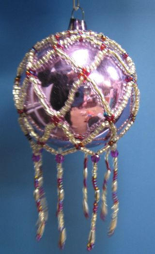 Vtg Purple/lavender Mercury Glass Ornament W/ Seed Bead Embellishment photo