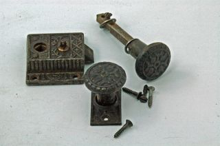 Antique Hardware Windsor Screen Door Lock Set Cast Iron Circa 1880 photo