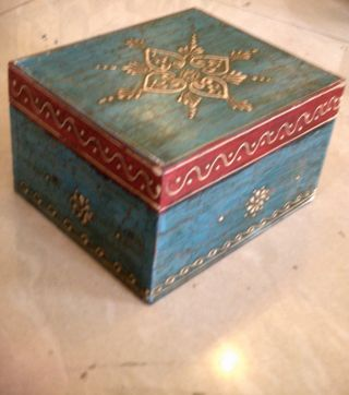 Blue Colorful Chest Embossed 4 Sections Wooden Painted Jewelry Cum Spice Box Art photo