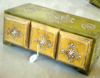 Horizontal Embossed 4 Drawers Wooden Painted Jewelry Cum Spice Box Wood Art photo