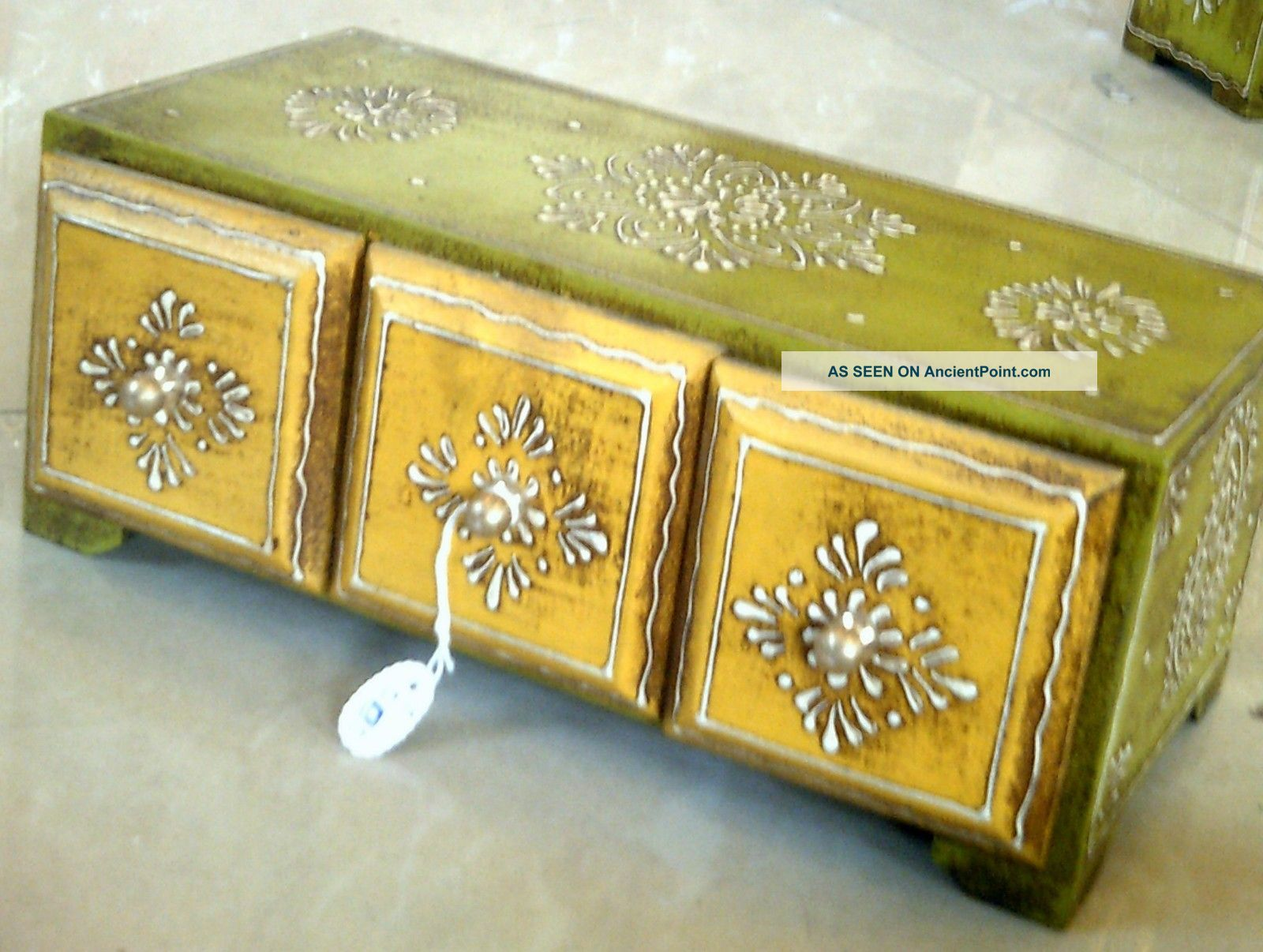 Horizontal Embossed 4 Drawers Wooden Painted Jewelry Cum Spice Box