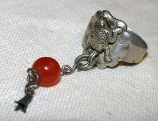 Vintage Chinese Silver Frog Ring W Carnelian Dangle - Old, ,  Scarce photo