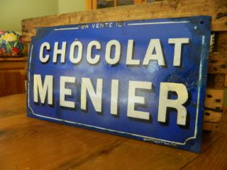 French Enamel Chocolat Menier (cobalt Blue) Rare Sign photo