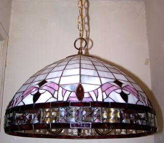 Vtg.  Bronze Slag & Beveled Glass Chandelier Quality Pendent Light Fixture photo