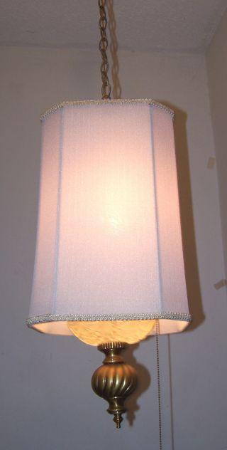 Vtg.  Crystal Retro Shaded Pendent Spelter Chandelier Swag Light Fixture photo