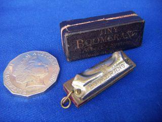 Rare Antique 1920s Tiny Boomerang Harmonica Mouth Organ Albert ' S Music Advertise photo