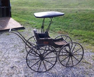 Push Victorian Baby Buggy With Wooden Wheels Circa 1870 Antique photo