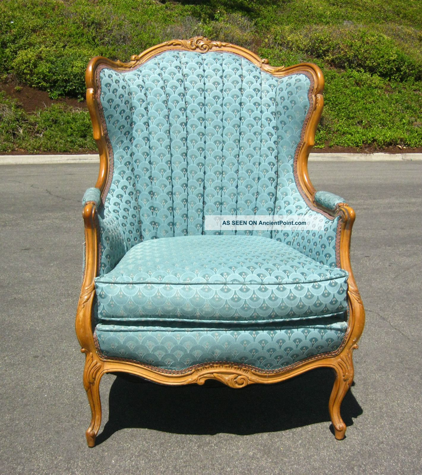 Turquoise Arm Chair ... French Provincial Ornate Carved Peacock Turquoise Wingback Arm Chair