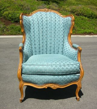 Vintage French Provincial Ornate Carved Peacock Turquoise Wingback Arm Chair photo