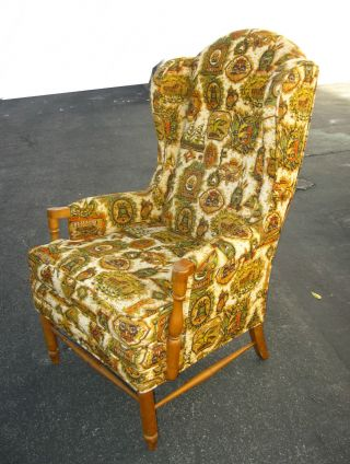 Vintage Early American Floral Print Wingback Yellow Accent Arm Chair photo