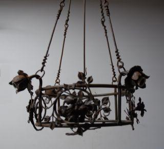 Art Nouveau Hammered Wrought Iron Art 4 Light Chandelier.  Floral Decor photo