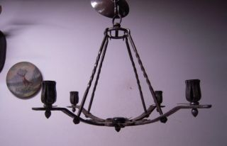 Fantastic - Quality Hand Made Wrought Iron Art 4 - Light Chandelier photo