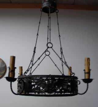 Rare Wrought Iron Art 4 - Light Castle Chandelier With Eagle Decor photo