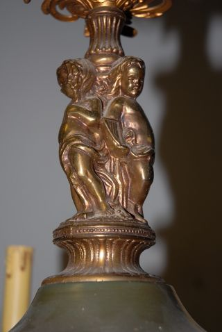 Vintage Bronze Empire Style Figural 6 - Light Chandelier photo