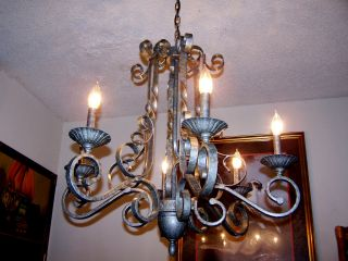 Vtg.  Large Shabby Swirled Wrought Iron Chandelier Hammered Look Light Fixture photo