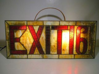 Aafa Art Deco Movie Theatre Stained Glass Exit Sign Vintage Nyc Trade Sign photo