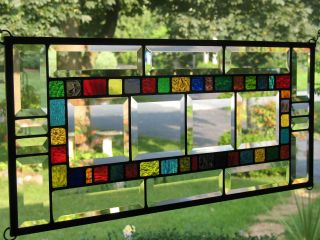 40 Color Beveled Sampler Large Stained Glass Window Panel Nr photo