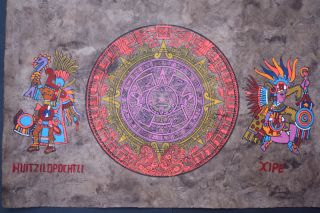 Mexican Aztec Calendar Amate Bark Painting Ethnic Art Craft Wall Hanging Decor photo