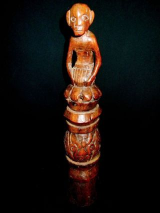 African Tribal Statue Sculpture Ethnographic Art Decor Carved W/monkey On Top photo