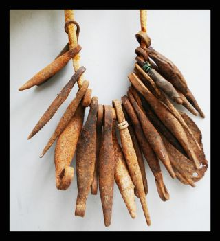 An Iron Currency Necklace With Pod Like Pendants From Kirdi Tribe Cameroon photo