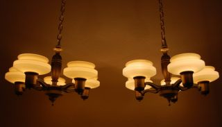 Two Pair Of Art Deco Chandeliers Custard Glass Shades Restored Set Of 4 Matching photo