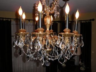 8 Light French Style Gilt And Crystal Chandelier photo