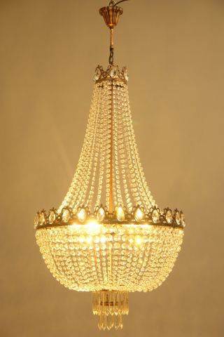 24.  01  Width Big French Antique Style Crystal Chandelier Purse Lamp Lighting photo