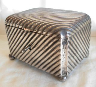 1882 - 1922 Austro Hungarian Silver Lidded Box / Tea Caddy With Lock - 430 Grams photo