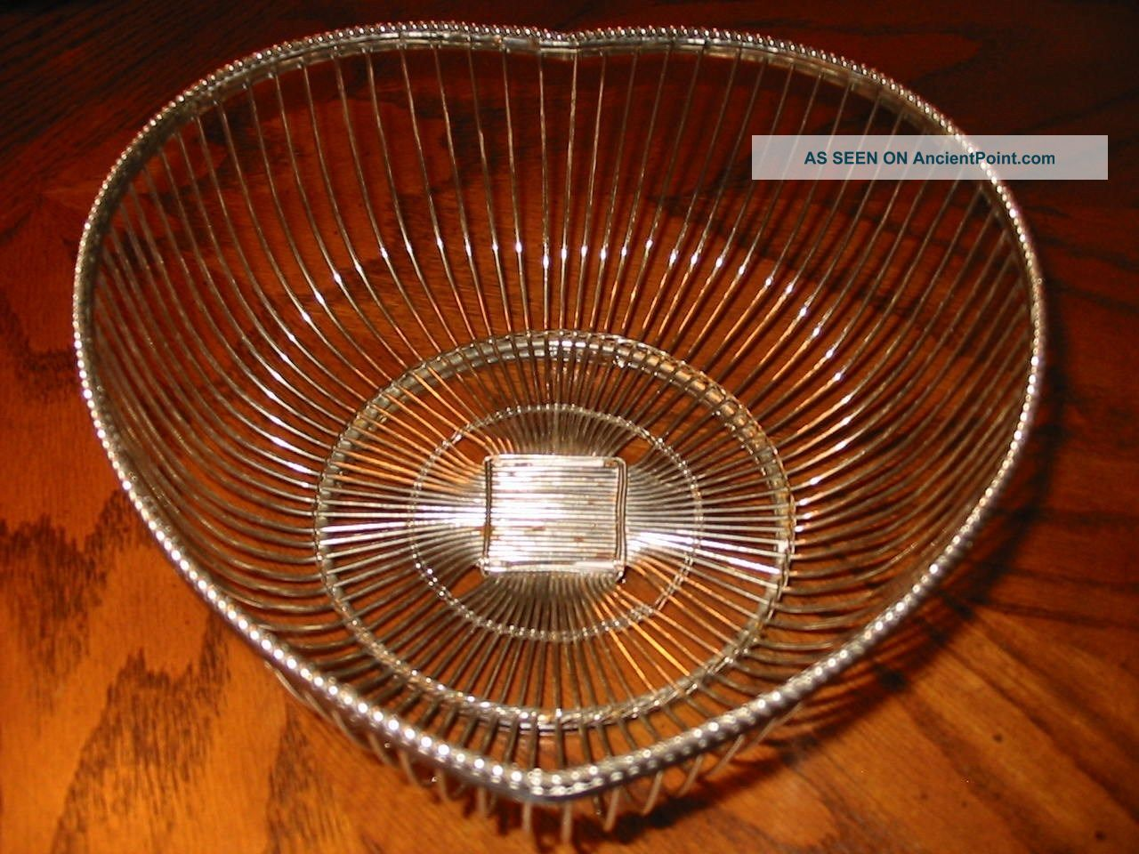 Vintage Heart Shaped Silver Wire Tabletop Basket By International Silver Co. Baskets photo