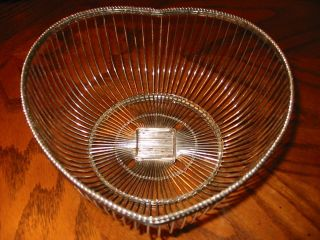 Vintage Heart Shaped Silver Wire Tabletop Basket By International Silver Co. photo