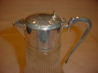 Vintage Glass Silver Plated Top Claret Pitcher photo