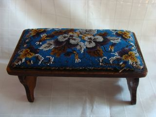 Antique Rare English Traveling Rosewood Foot Stool Beaded Covering C1820 Look photo