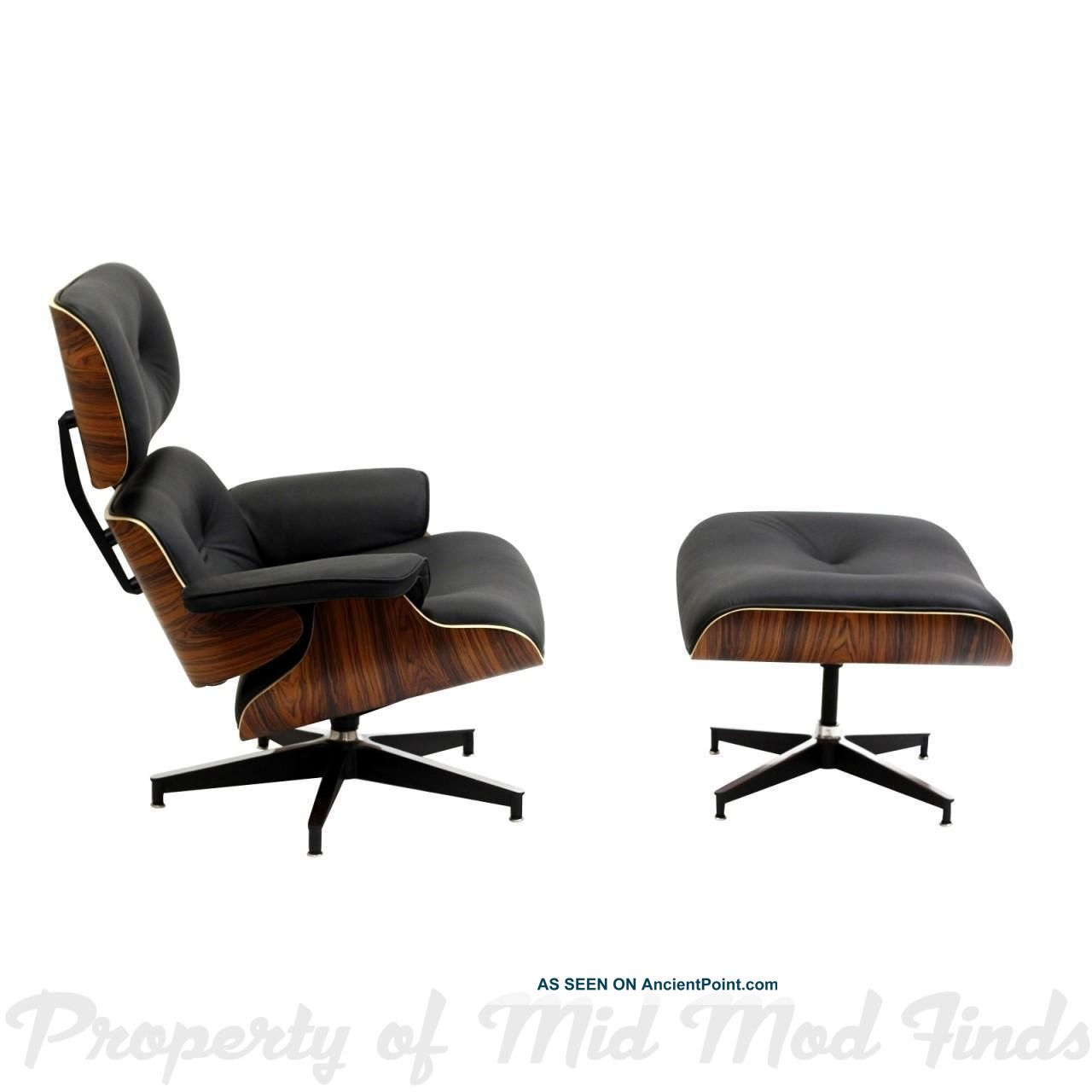 Very Impressive portraiture of Style Lounge Chair And Ottoman In Black Leather With Palisander Wood  with #663B24 color and 1280x1280 pixels