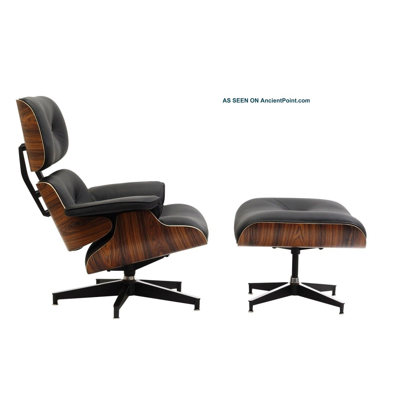 Very Impressive portraiture of Style Lounge Chair And Ottoman In Black Leather With Palisander Wood  with #673F2A color and 1280x1280 pixels