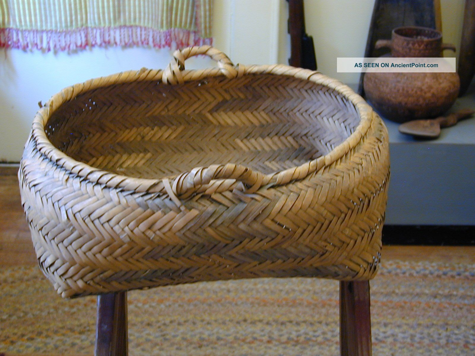 Basket,  American Indian,  River Cane,  Choctaw Large & Very Old Native American photo