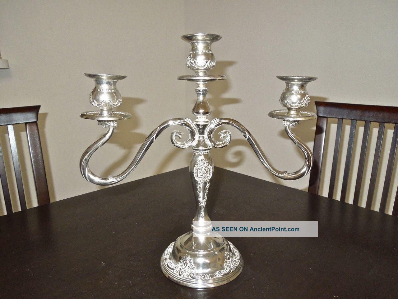 Vintage Silver Plated Godinger 3 Arm Candelabra Candlesticks & Candelabra photo